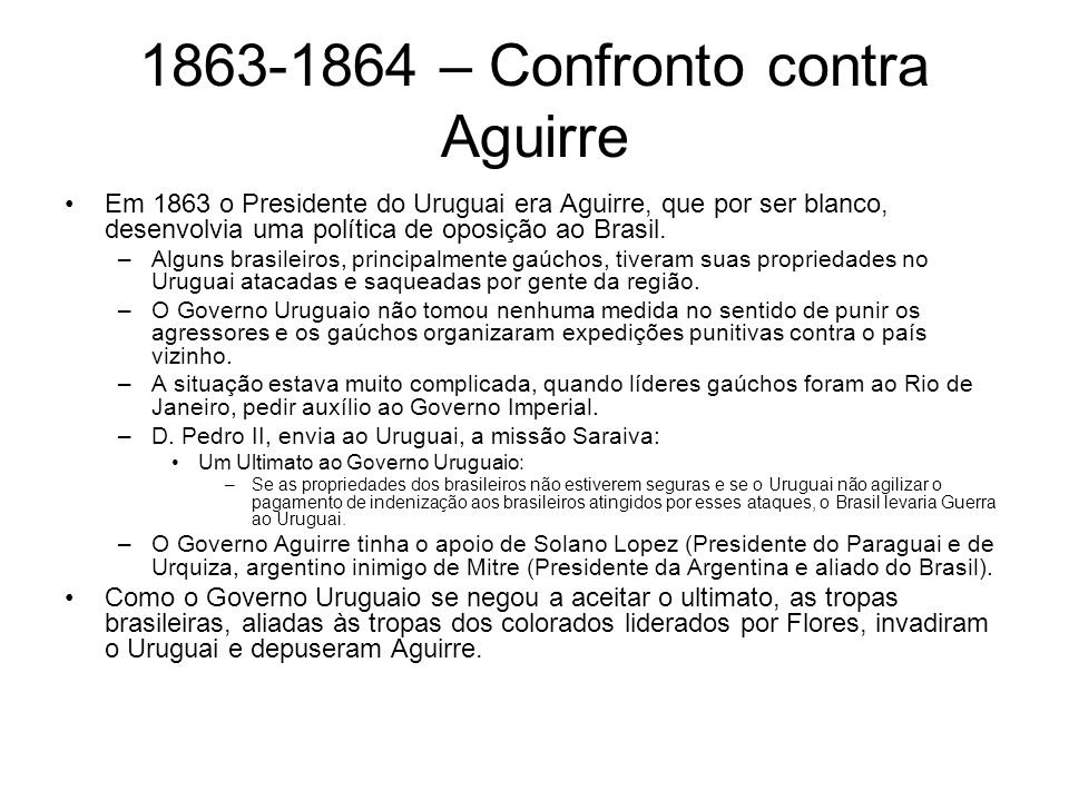 1863-1864 – Confronto contra Aguirre