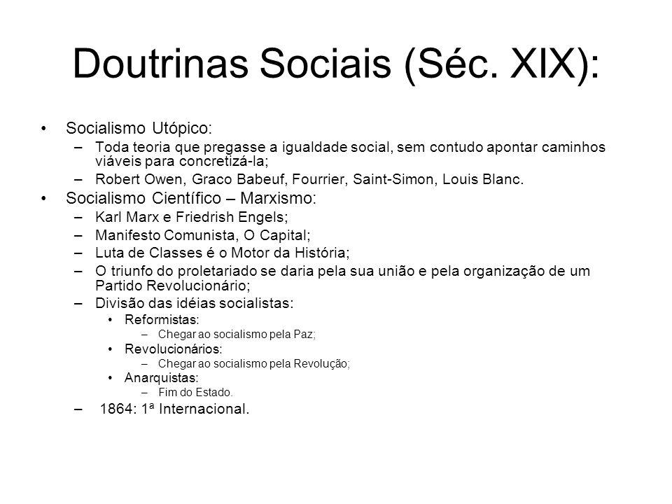 Doutrinas Sociais (Séc. XIX):