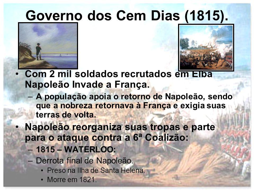 Governo dos Cem Dias (1815). Com 2 mil soldados recrutados em Elba Napoleão Invade a França.