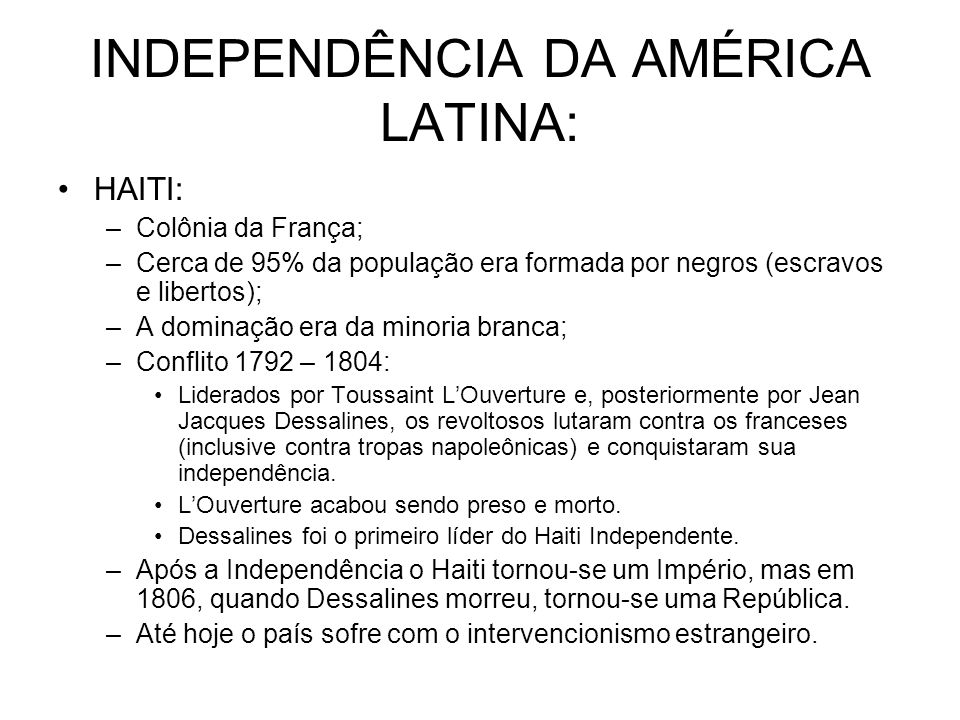 INDEPENDÊNCIA DA AMÉRICA LATINA: