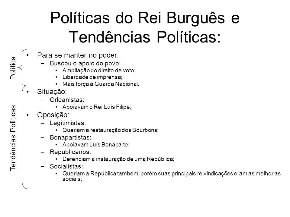 Políticas do Rei Burguês e Tendências Políticas: