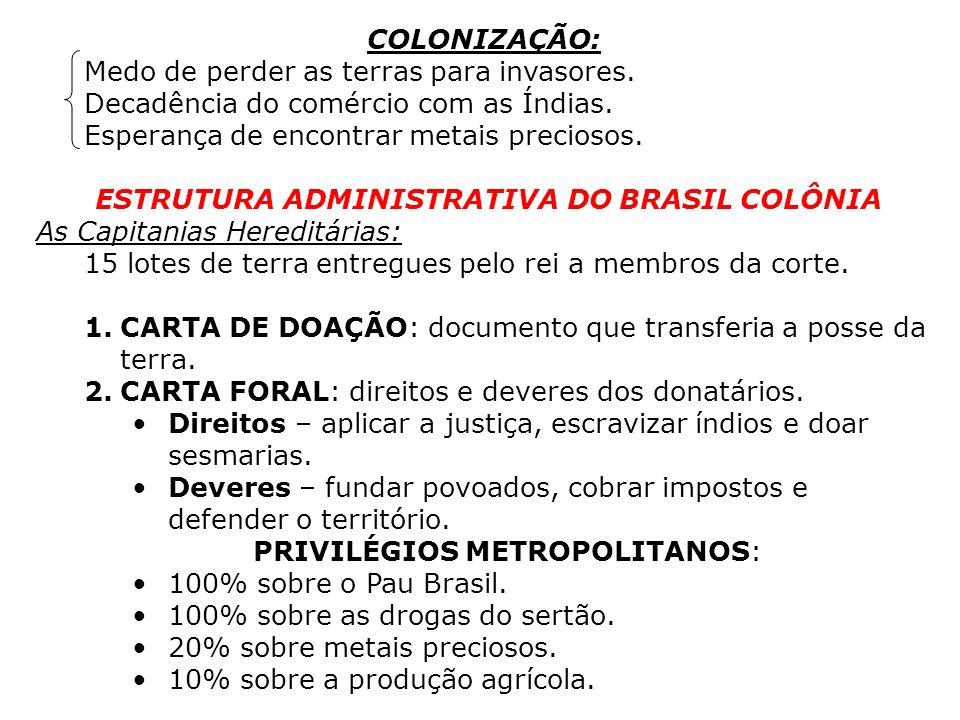 ESTRUTURA ADMINISTRATIVA DO BRASIL COLÔNIA