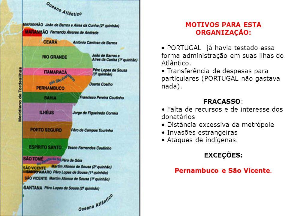 MOTIVOS PARA ESTA ORGANIZAÇÃO: Pernambuco e São Vicente.