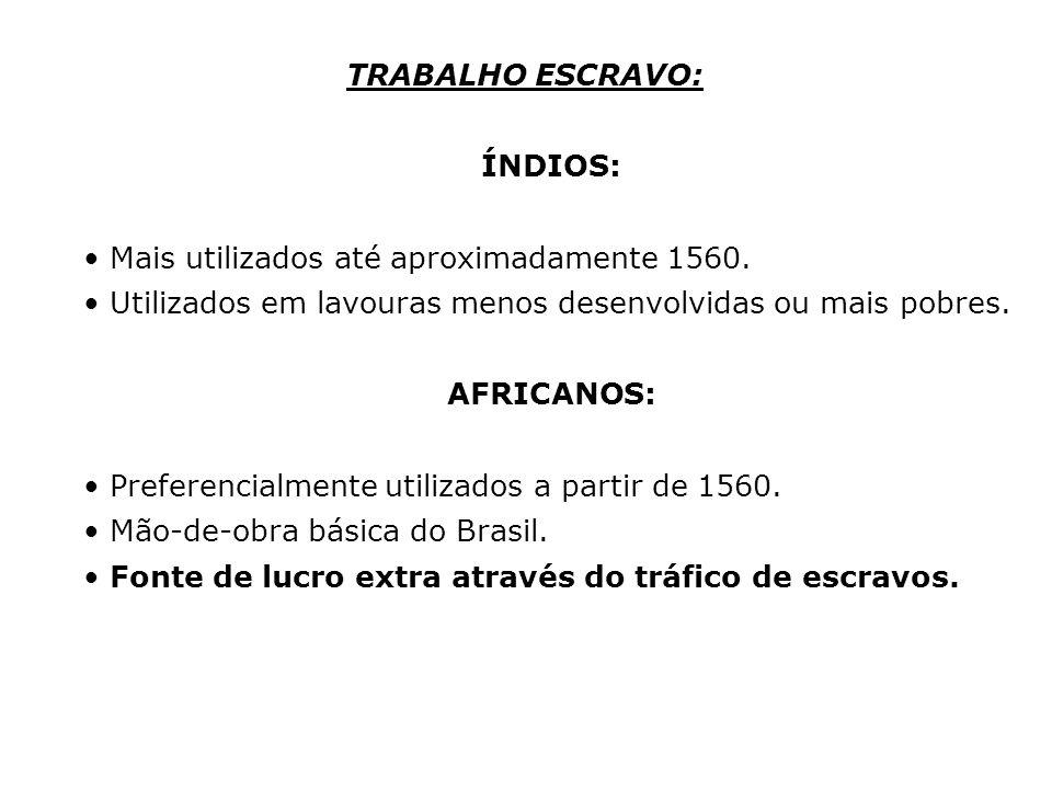 TRABALHO ESCRAVO: ÍNDIOS: Mais utilizados até aproximadamente 1560. Utilizados em lavouras menos desenvolvidas ou mais pobres.