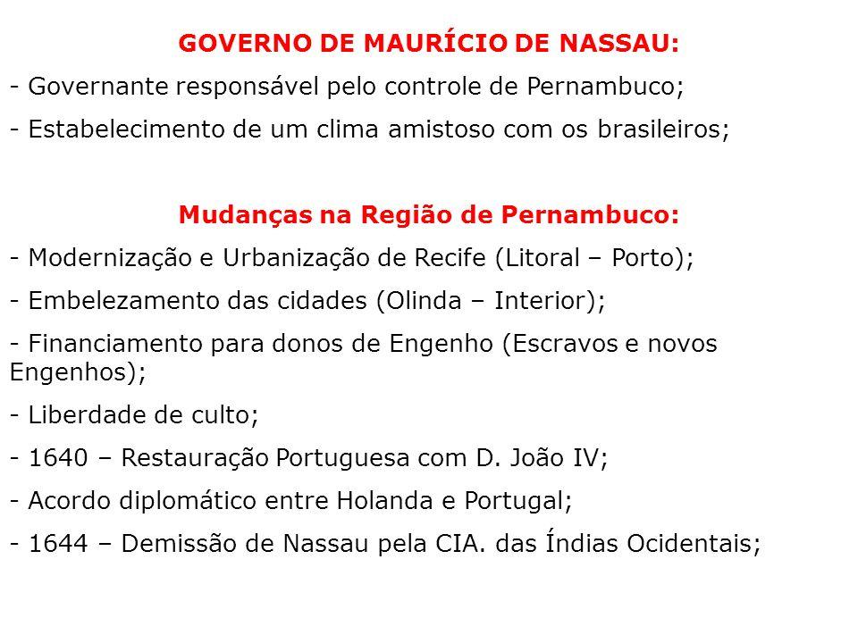 GOVERNO DE MAURÍCIO DE NASSAU: Mudanças na Região de Pernambuco: