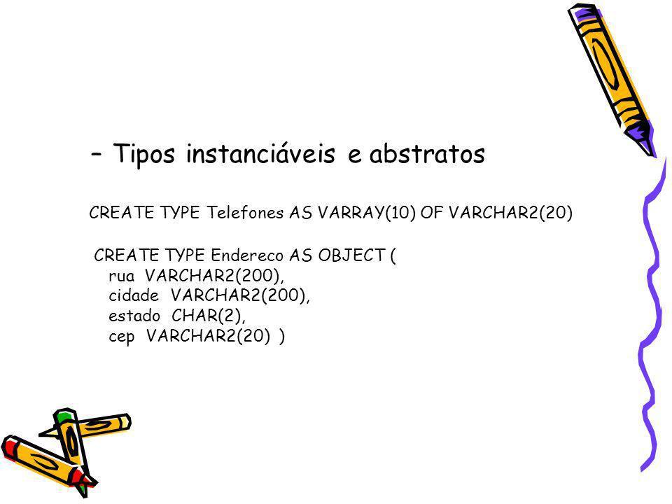 Tipos instanciáveis e abstratos