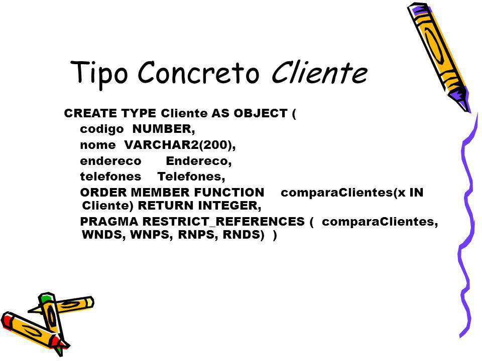 Tipo Concreto Cliente CREATE TYPE Cliente AS OBJECT ( codigo NUMBER,