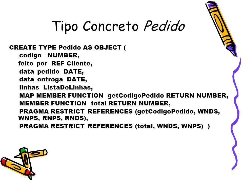 Tipo Concreto Pedido CREATE TYPE Pedido AS OBJECT ( codigo NUMBER,