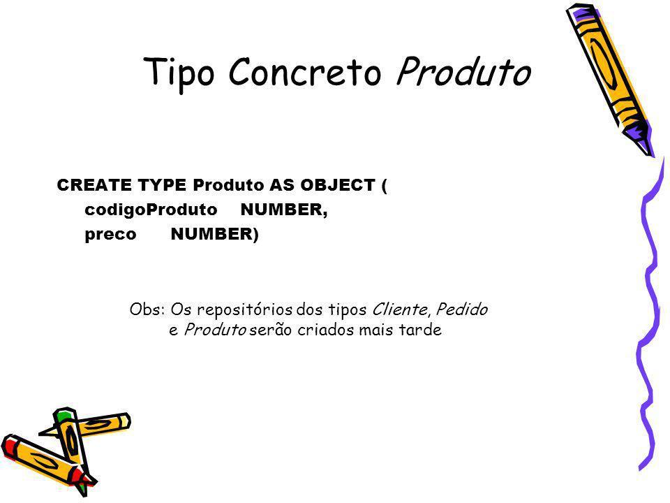 Tipo Concreto Produto CREATE TYPE Produto AS OBJECT (