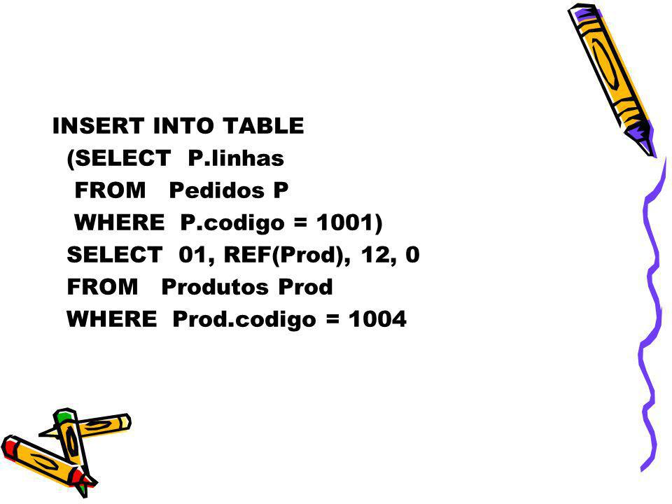 INSERT INTO TABLE(SELECT P.linhas. FROM Pedidos P. WHERE P.codigo = 1001) SELECT 01, REF(Prod), 12, 0.