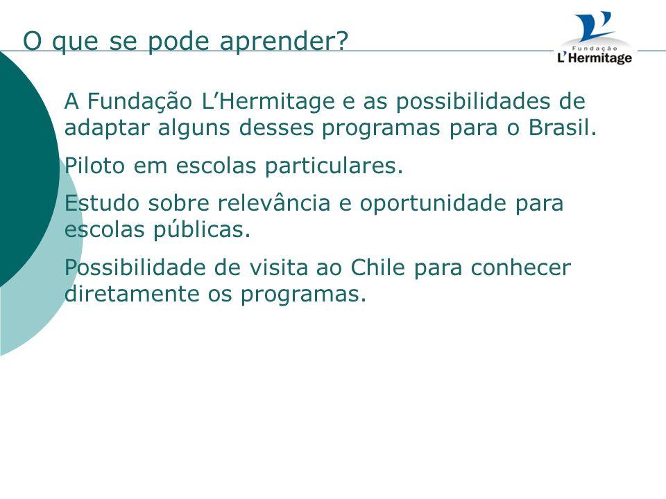 O que se pode aprender A Fundação L'Hermitage e as possibilidades de adaptar alguns desses programas para o Brasil.