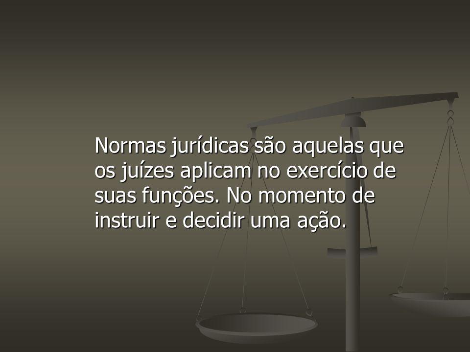Normas jurídicas são aquelas que os juízes aplicam no exercício de suas funções.