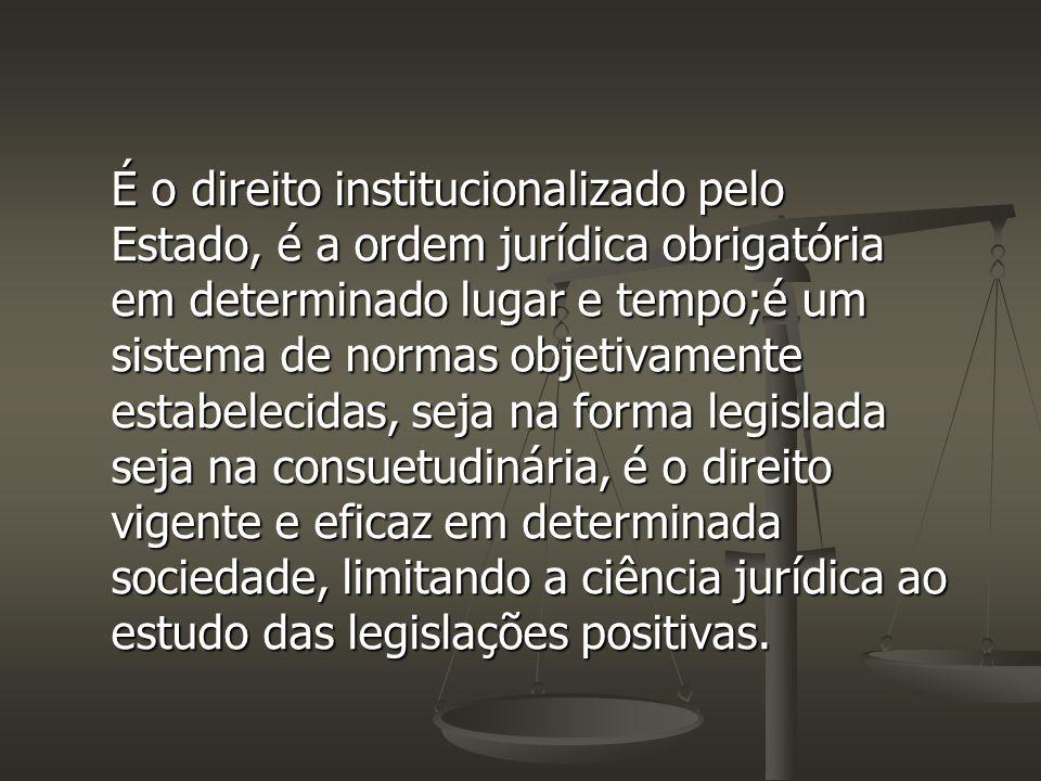É o direito institucionalizado pelo Estado, é a ordem jurídica obrigatória em determinado lugar e tempo;é um sistema de normas objetivamente estabelecidas, seja na forma legislada seja na consuetudinária, é o direito vigente e eficaz em determinada sociedade, limitando a ciência jurídica ao estudo das legislações positivas.