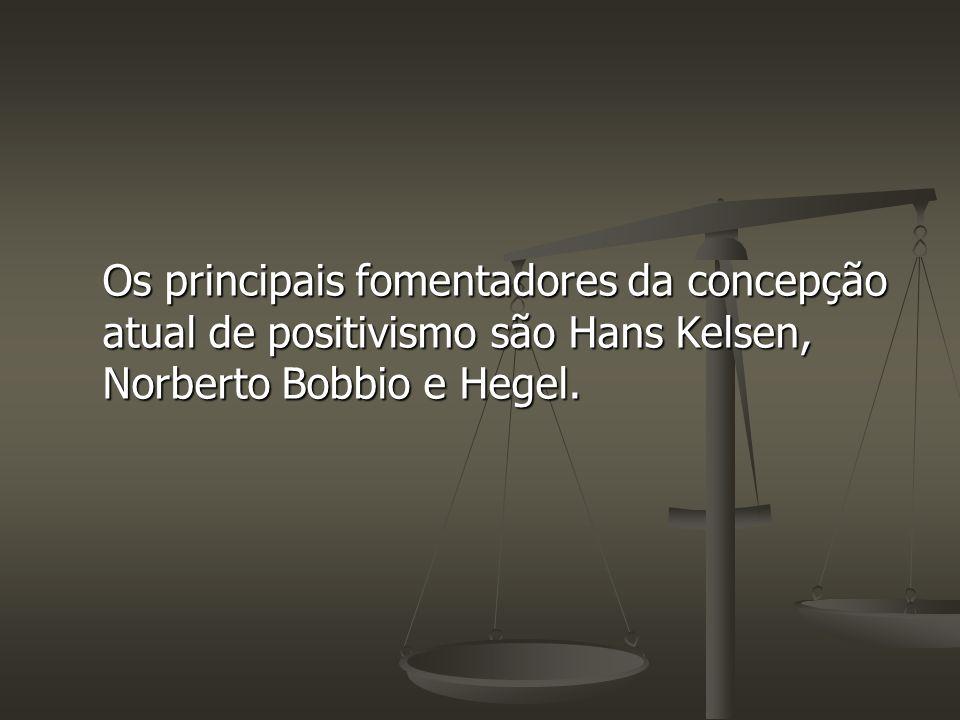 Os principais fomentadores da concepção atual de positivismo são Hans Kelsen, Norberto Bobbio e Hegel.