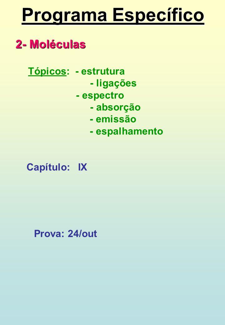 Programa Específico 2- Moléculas - ligações - espectro - absorção