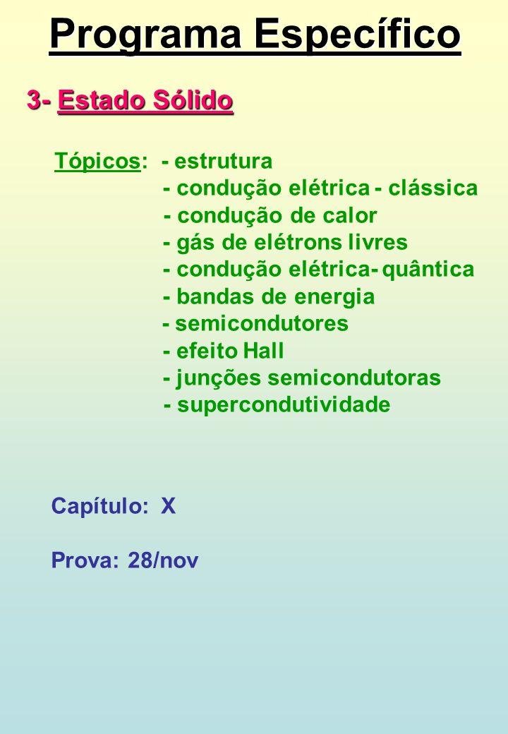 Programa Específico 3- Estado Sólido - condução elétrica - clássica