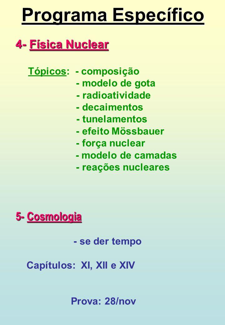 Programa Específico 4- Física Nuclear 5- Cosmologia - modelo de gota