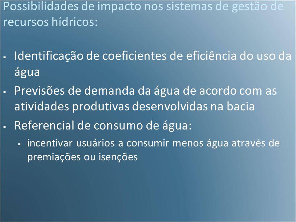 Possibilidades de impacto nos sistemas de gestão de recursos hídricos: