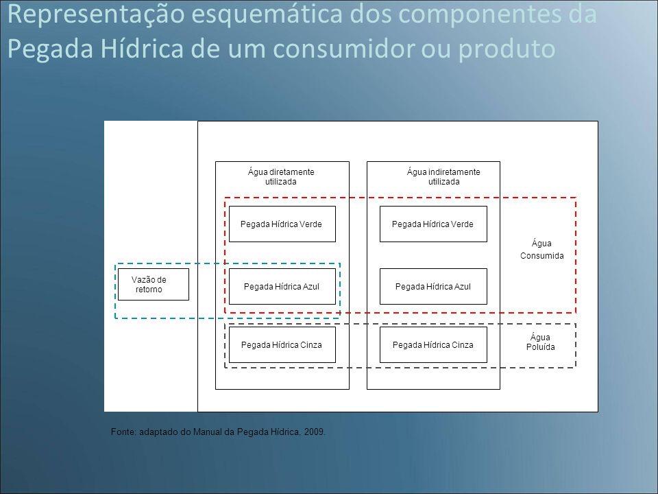 Representação esquemática dos componentes da Pegada Hídrica de um consumidor ou produto
