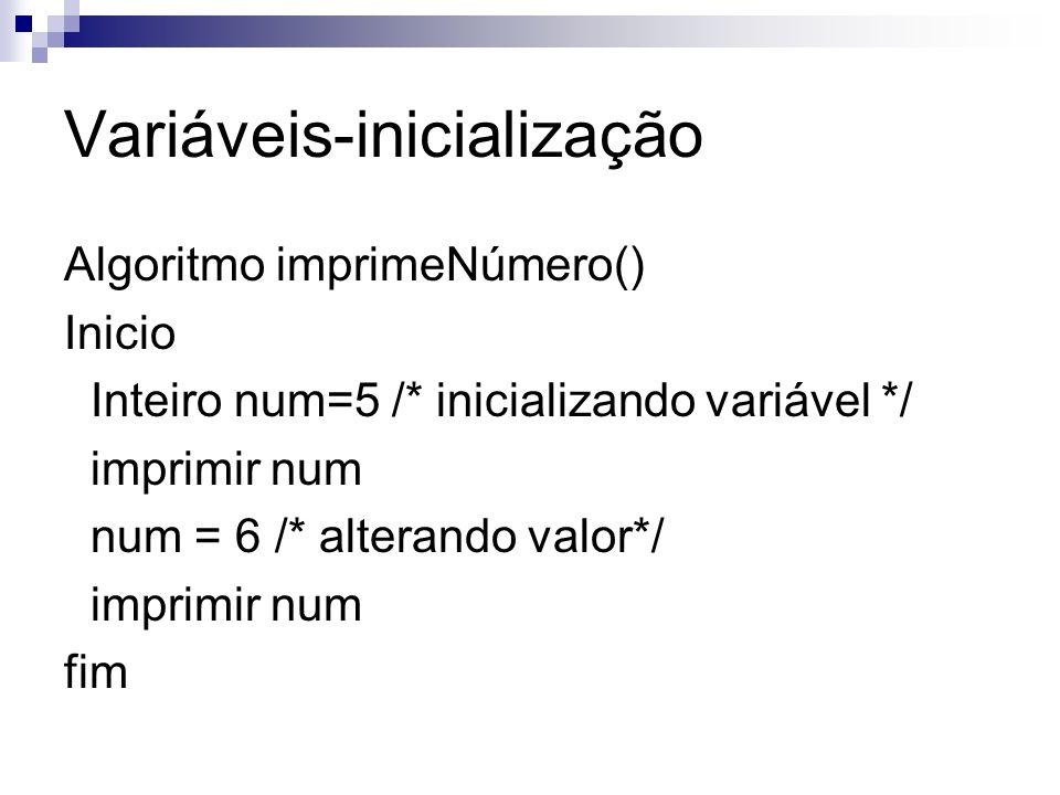 Variáveis-inicialização