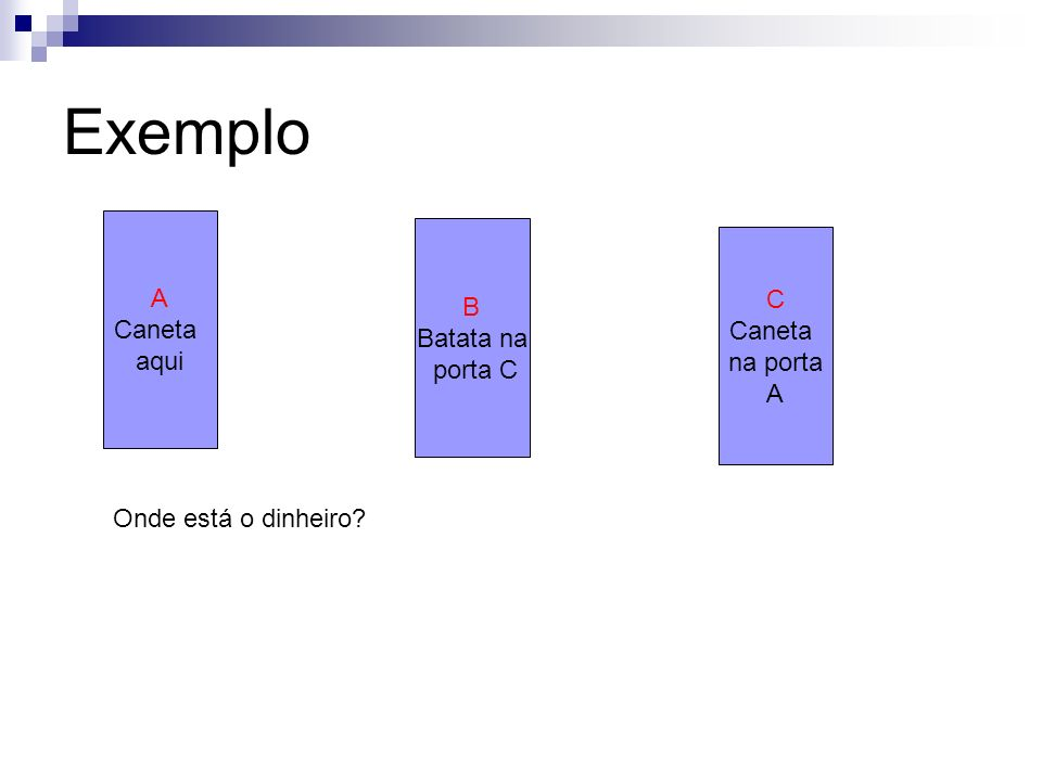 Exemplo A B C Caneta Batata na Caneta aqui porta C na porta A