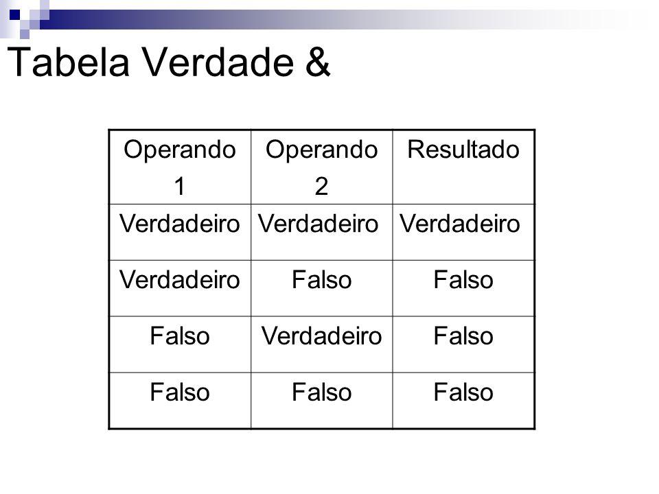 Tabela Verdade & Operando 1 2 Resultado Verdadeiro Falso