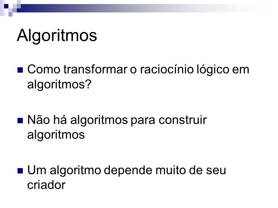 Algoritmos Como transformar o raciocínio lógico em algoritmos
