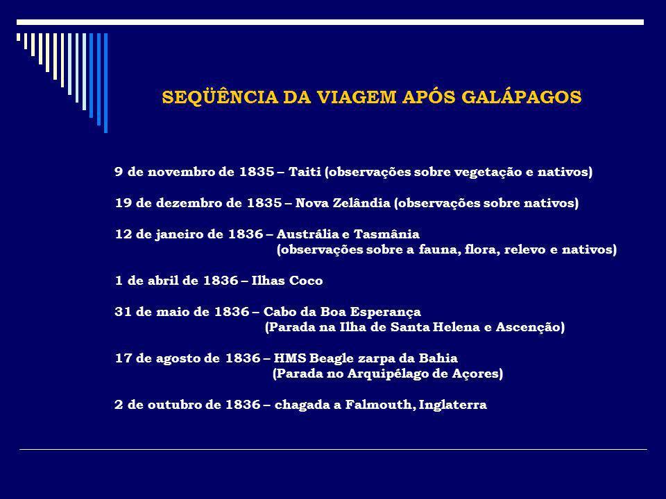 SEQÜÊNCIA DA VIAGEM APÓS GALÁPAGOS