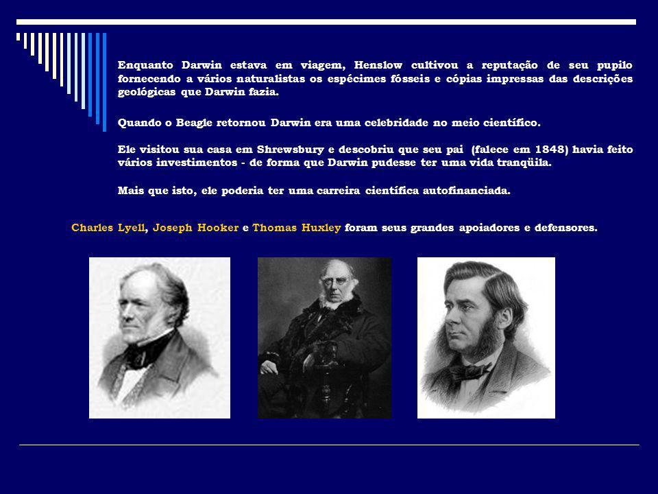 Enquanto Darwin estava em viagem, Henslow cultivou a reputação de seu pupilo fornecendo a vários naturalistas os espécimes fósseis e cópias impressas das descrições geológicas que Darwin fazia.