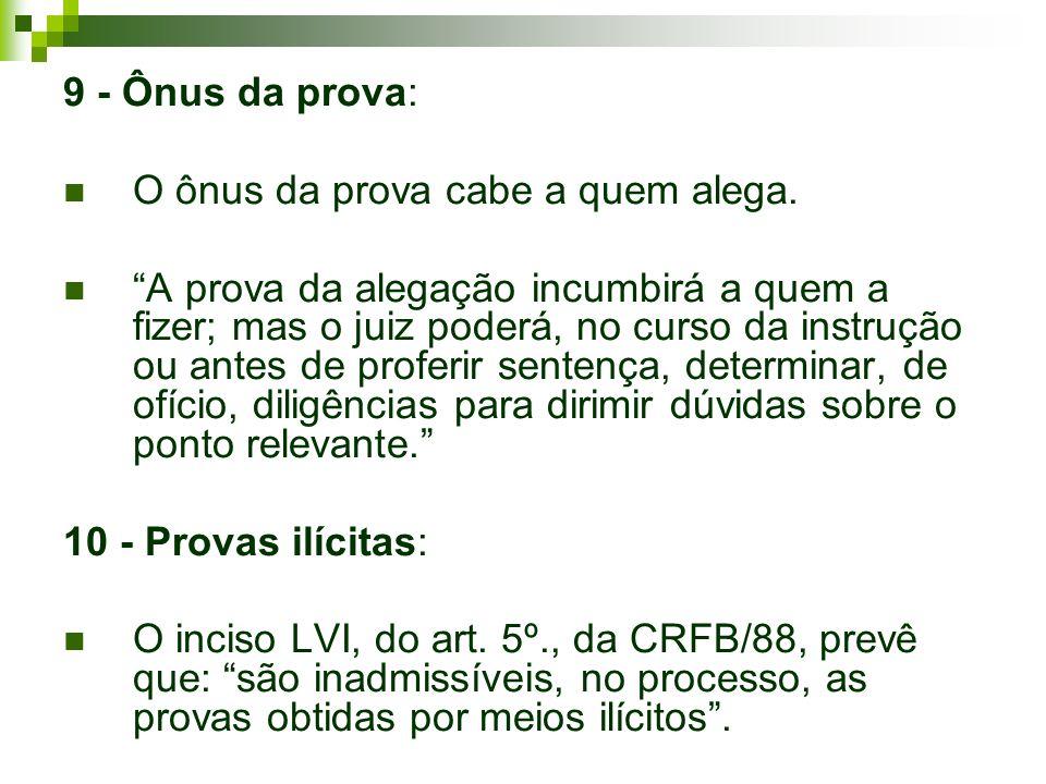 9 - Ônus da prova: O ônus da prova cabe a quem alega.