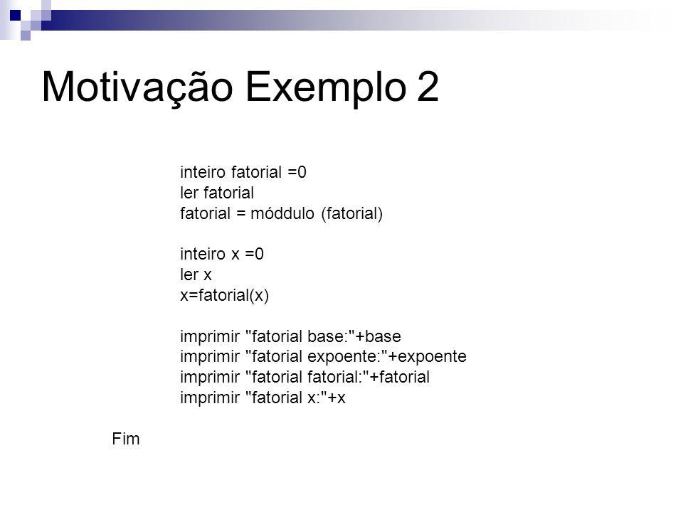 Motivação Exemplo 2 inteiro fatorial =0 ler fatorial