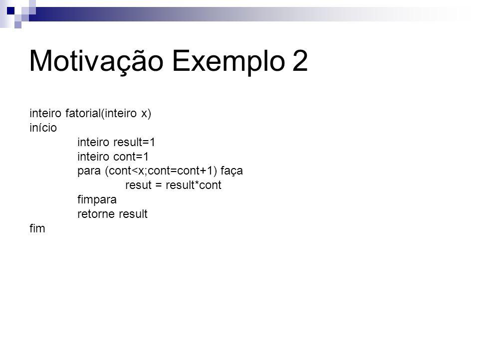 Motivação Exemplo 2 inteiro fatorial(inteiro x) início
