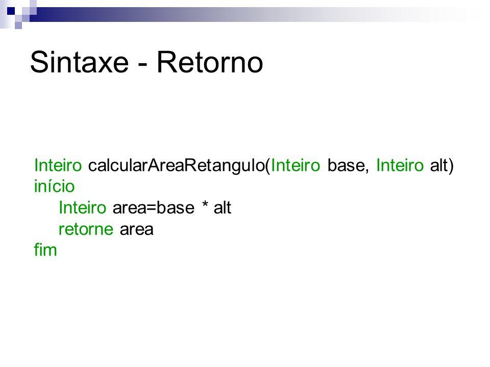 Sintaxe - Retorno Inteiro calcularAreaRetangulo(Inteiro base, Inteiro alt) início. Inteiro area=base * alt.