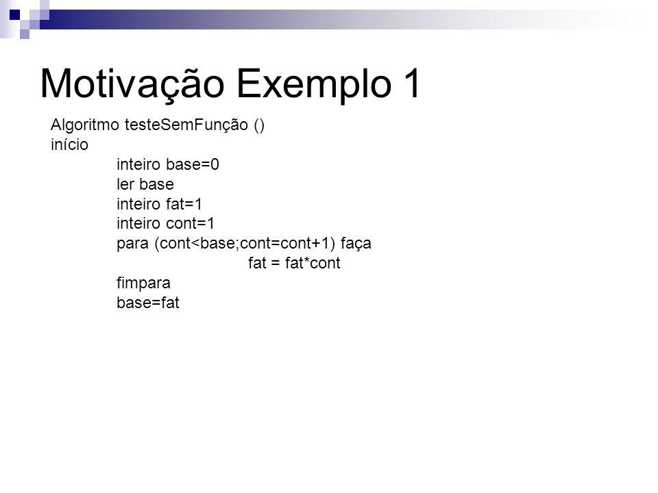 Motivação Exemplo 1 Algoritmo testeSemFunção () início inteiro base=0