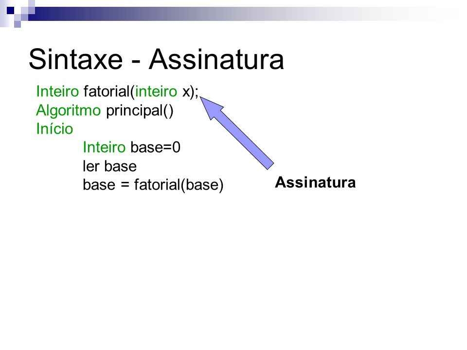 Sintaxe - Assinatura Inteiro fatorial(inteiro x);