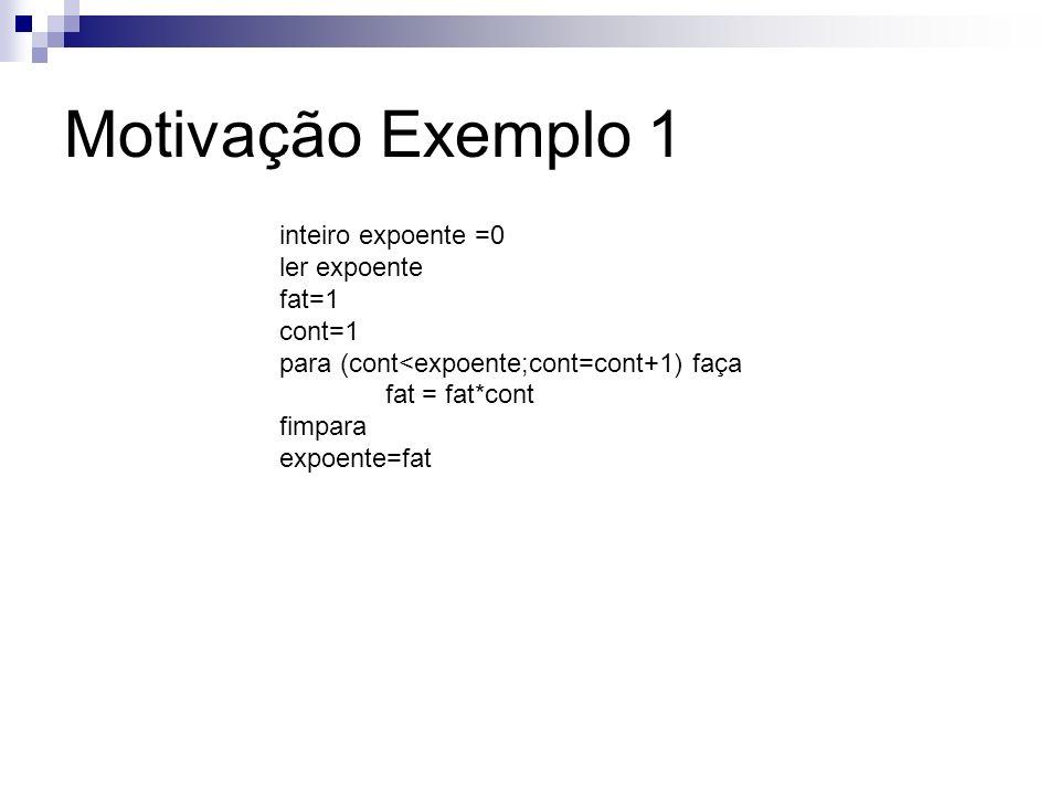 Motivação Exemplo 1 inteiro expoente =0 ler expoente fat=1 cont=1