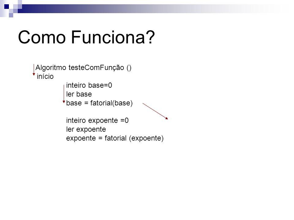 Como Funciona Algoritmo testeComFunção () início inteiro base=0