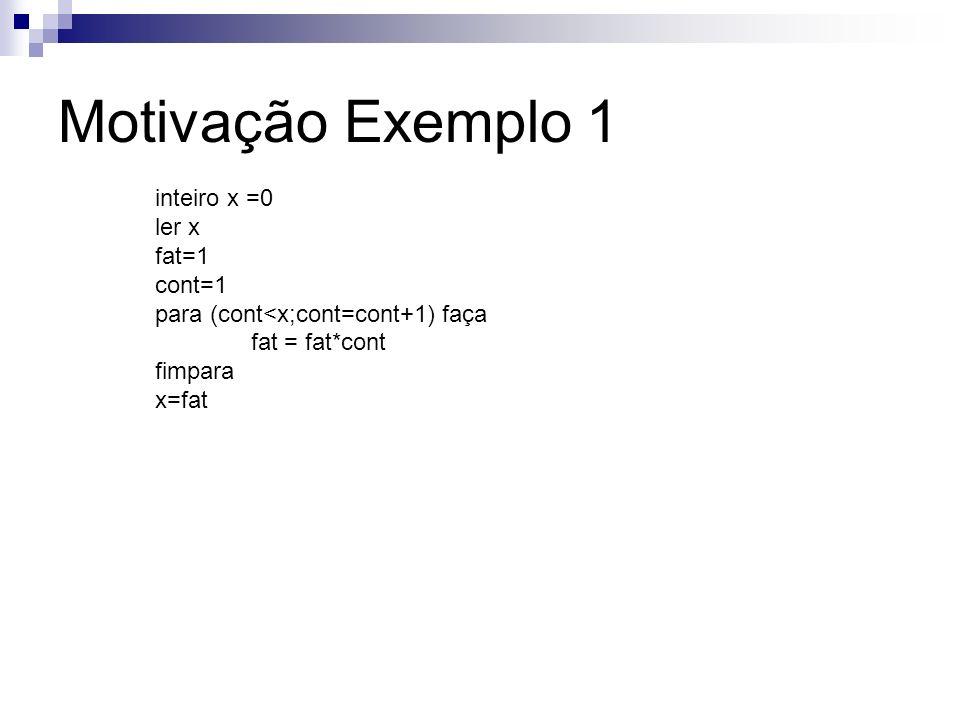 Motivação Exemplo 1 inteiro x =0 ler x fat=1 cont=1