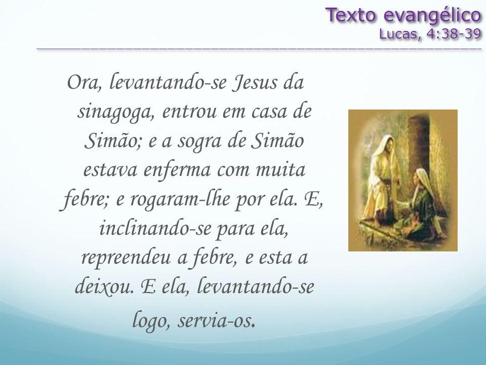 Texto evangélico Lucas, 4:38-39. ________________________________________________________________________________________________________.