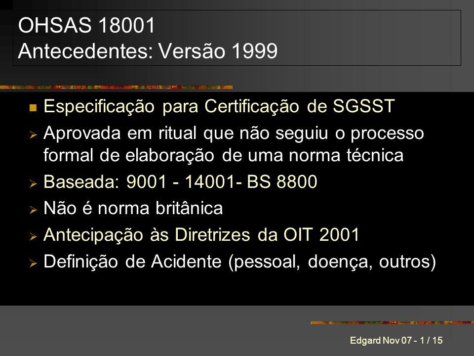 OHSAS 18001 Antecedentes: Versão 1999