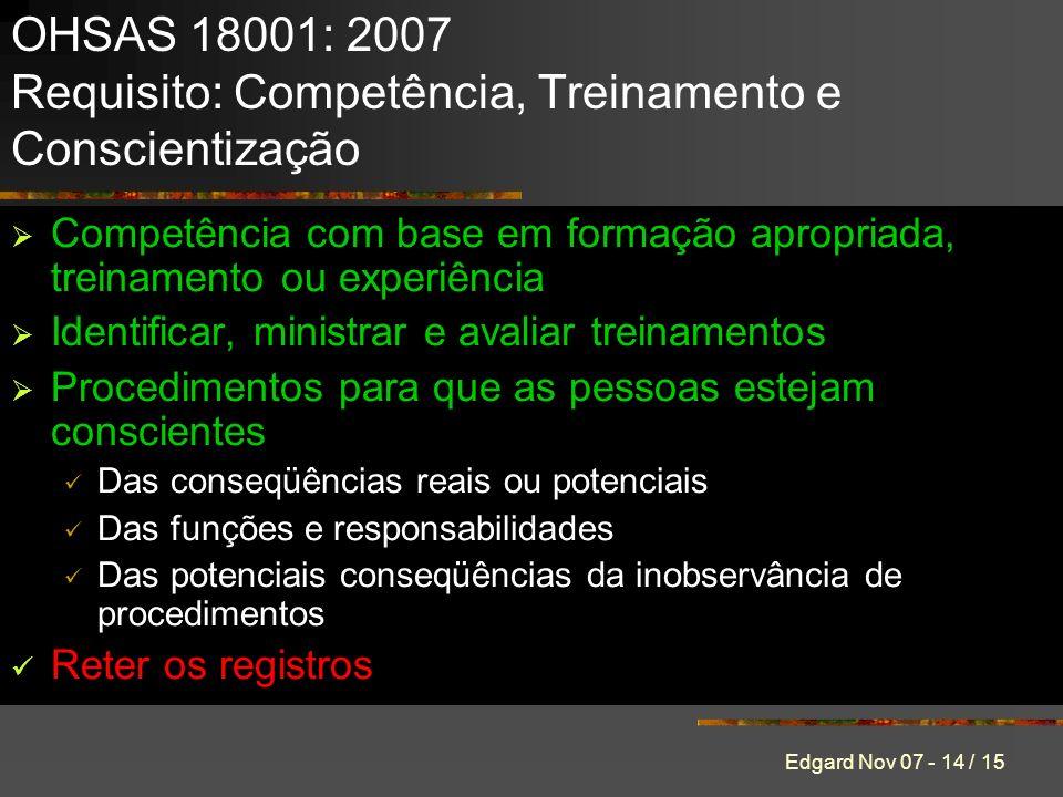 OHSAS 18001: 2007 Requisito: Competência, Treinamento e Conscientização