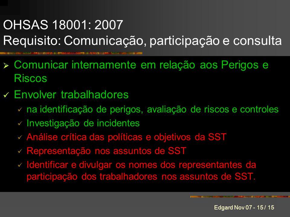 OHSAS 18001: 2007 Requisito: Comunicação, participação e consulta