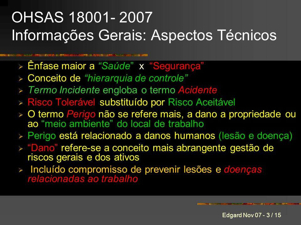 OHSAS 18001- 2007 Informações Gerais: Aspectos Técnicos