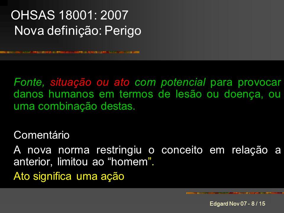 OHSAS 18001: 2007 Nova definição: Perigo
