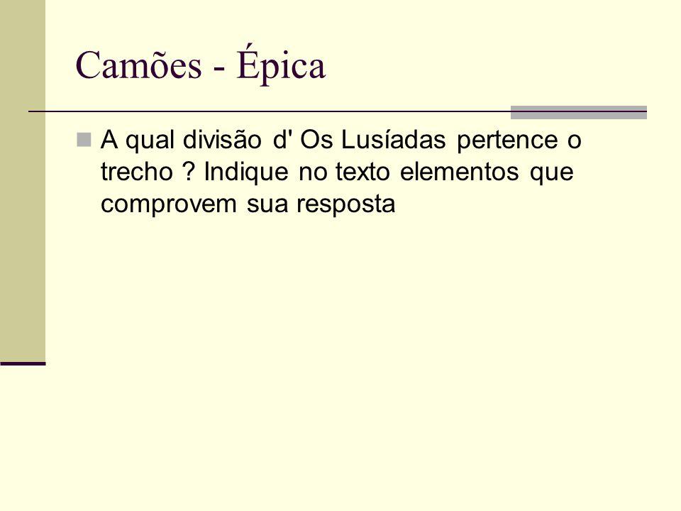 Camões - Épica A qual divisão d Os Lusíadas pertence o trecho .