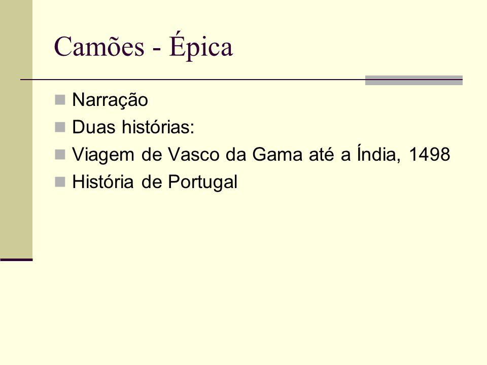Camões - Épica Narração Duas histórias: