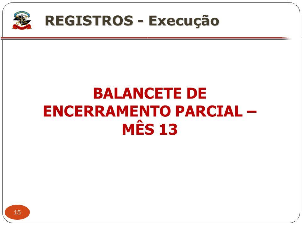BALANCETE DE ENCERRAMENTO PARCIAL – MÊS 13