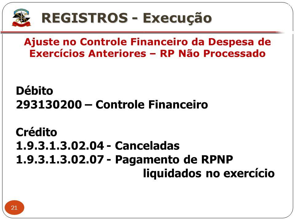 REGISTROS - Execução Débito 293130200 – Controle Financeiro Crédito