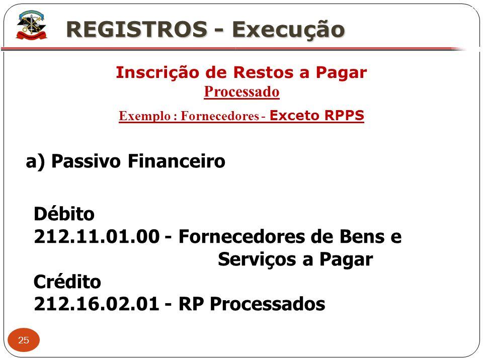 Inscrição de Restos a Pagar Exemplo : Fornecedores - Exceto RPPS