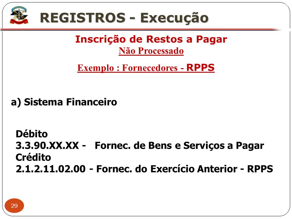 Inscrição de Restos a Pagar Exemplo : Fornecedores - RPPS